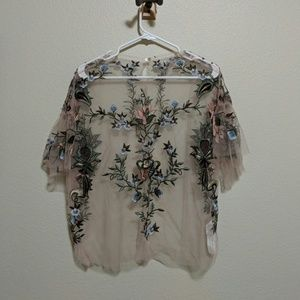 Embroidered mesh blouse NWOT.